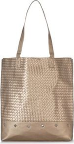 Metallic Woven Stud Tote Sandstone - predominant colour: bronze; occasions: casual, holiday; style: tote; length: shoulder (tucks under arm); size: standard; material: fabric; pattern: plain; finish: metallic