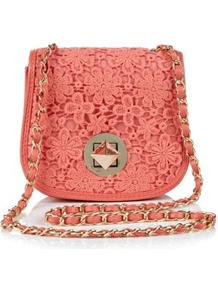 Coral Crochet Across Body Bag - predominant colour: coral; occasions: casual, holiday; type of pattern: light; style: saddle; length: across body/long; size: small; material: lace; pattern: plain; finish: plain; embellishment: chain/metal
