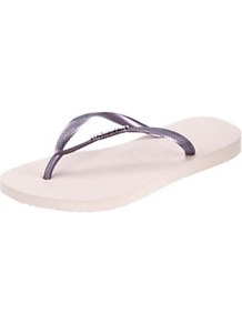 Slim Logo Metallic Flip Flops - secondary colour: white; predominant colour: purple; material: plastic/rubber; heel height: flat; heel: standard; toe: toe thongs; style: flip flops / toe post; occasions: holiday; finish: metallic; pattern: plain