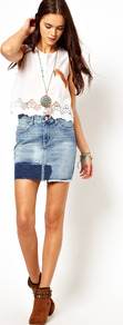 Patch Denim Skirt - length: mid thigh; pattern: plain; style: pencil; fit: tailored/fitted; hip detail: front pockets at hip; waist: mid/regular rise; predominant colour: denim; occasions: casual, holiday; fibres: cotton - 100%; texture group: denim; pattern type: fabric