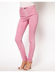 Ridley Supersoft High Waisted Ultra Skinny Jeans In Washed Fushia - style: skinny leg; length: standard; pattern: plain; waist: high rise; pocket detail: traditional 5 pocket; predominant colour: pink; occasions: casual, evening; fibres: cotton - stretch; jeans detail: washed/faded; texture group: denim; pattern type: fabric