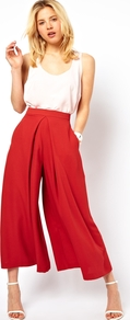 Trousers With Extreme Wide Leg - pattern: plain; style: palazzo; waist: high rise; predominant colour: terracotta; occasions: casual, evening; length: ankle length; fibres: polyester/polyamide - 100%; hip detail: front pleats at hip level; texture group: crepes; fit: wide leg; pattern type: fabric