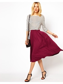 Full Midi Skirt - length: calf length; pattern: plain; fit: body skimming; waist: high rise; predominant colour: burgundy; occasions: casual; style: fit & flare; fibres: viscose/rayon - stretch; pattern type: fabric; texture group: jersey - stretchy/drapey