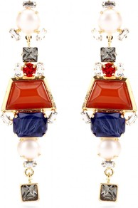 Crystal Bead Embellished Drop Earrings - occasions: evening; predominant colour: multicoloured; style: drop; length: long; size: large/oversized; material: chain/metal; fastening: pierced; finish: patent; embellishment: jewels