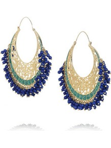Moon Bali Gold Plated Hoop Earrings - predominant colour: royal blue; secondary colour: gold; occasions: casual, evening, occasion, holiday; style: hoop; length: long; size: large/oversized; material: chain/metal; fastening: pierced; finish: plain; embellishment: beading