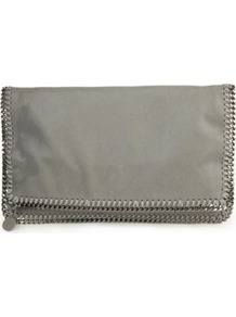 Stella Falabella Sd Silvch Clutch - predominant colour: silver; secondary colour: silver; occasions: evening, occasion; type of pattern: standard; style: clutch; length: hand carry; size: standard; material: leather; pattern: plain; finish: metallic; embellishment: chain/metal