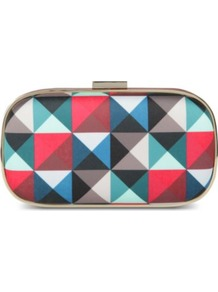 Marano Pyramid Clutch - occasions: evening, occasion; predominant colour: multicoloured; type of pattern: standard; style: clutch; length: hand carry; size: small; material: fabric; trends: modern geometrics; finish: plain; pattern: patterned/print