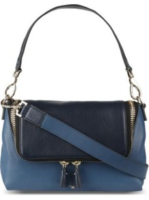 Two Toned Cross Body Bag - secondary colour: navy; predominant colour: denim; occasions: casual, evening; type of pattern: standard; style: shoulder; length: shoulder (tucks under arm); size: small; material: leather; finish: plain; pattern: colourblock
