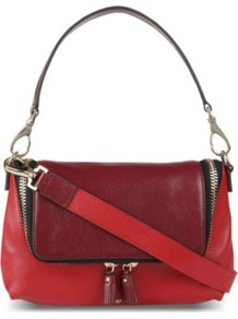 Two Tone Cross Body Bag - predominant colour: true red; secondary colour: burgundy; occasions: casual, evening; type of pattern: standard; style: shoulder; length: shoulder (tucks under arm); size: small; material: leather; finish: plain; pattern: colourblock