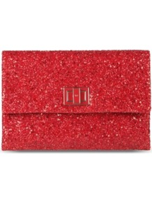 Valorie Glitter Embellished Clutch - predominant colour: true red; occasions: evening, occasion; style: clutch; length: hand carry; size: small; material: leather; embellishment: glitter; pattern: plain; finish: plain