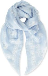 Skull Print Silk Chiffon Scarf - secondary colour: white; predominant colour: pale blue; occasions: casual, evening, work, occasion; type of pattern: heavy; style: regular; size: standard; material: silk; trends: modern geometrics; pattern: patterned/print