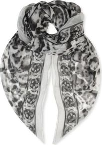 Animalier Silk Chiffon Scarf - secondary colour: ivory; predominant colour: black; occasions: casual, evening, work, occasion; type of pattern: heavy; style: regular; size: large; material: silk; trends: modern geometrics; pattern: patterned/print