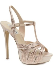 Ally Diamant Embellished Satin Sandals - predominant colour: champagne; occasions: evening, occasion; material: satin; embellishment: crystals; ankle detail: ankle strap; heel: platform; toe: open toe/peeptoe; style: strappy; finish: plain; pattern: plain; heel height: very high