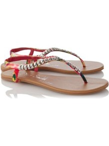 Bead Sandals Multi - predominant colour: true red; secondary colour: silver; occasions: casual, evening, holiday; material: fabric; heel height: flat; embellishment: studs; ankle detail: ankle strap; heel: standard; toe: toe thongs; style: flip flops / toe post; trends: metallics; finish: plain; pattern: plain