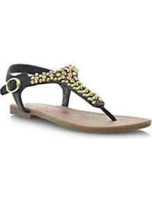 Jazmina Studand Jewel Toe Post Sandal - secondary colour: gold; predominant colour: black; occasions: casual, holiday; material: faux leather; heel height: flat; embellishment: beading; ankle detail: ankle strap; heel: standard; toe: toe thongs; style: flip flops / toe post; finish: plain; pattern: plain