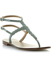 Kart Beaded Diamante T Bar Sandal - predominant colour: pistachio; occasions: casual, holiday; material: leather; heel height: flat; embellishment: crystals; ankle detail: ankle strap; heel: standard; toe: open toe/peeptoe; style: strappy; finish: plain; pattern: plain