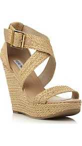 Haywire Woven High Wedge Heeled Sandal - predominant colour: stone; occasions: evening, work, occasion, holiday; material: faux leather; embellishment: buckles; ankle detail: ankle strap; heel: wedge; toe: open toe/peeptoe; style: strappy; finish: plain; pattern: plain; heel height: very high