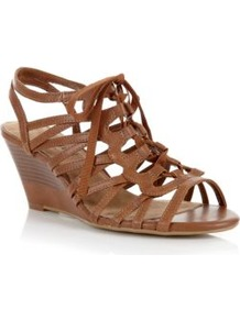Wide Fit Tan Lace Up Cage Wedges - predominant colour: tan; occasions: casual, work, holiday; material: faux leather; heel height: mid; ankle detail: ankle strap; heel: wedge; toe: open toe/peeptoe; style: gladiators; finish: plain; pattern: plain