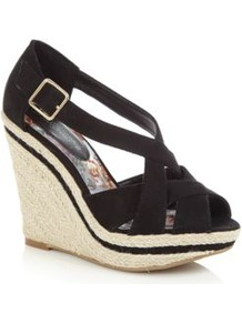 Black Raffia Wedge Sandals - secondary colour: ivory; predominant colour: black; occasions: casual, holiday; material: macrame/raffia/straw; heel height: high; embellishment: buckles; heel: wedge; toe: open toe/peeptoe; style: strappy; finish: plain; pattern: plain