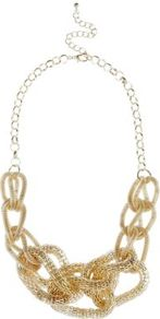 Gold Chunky Interlink Chain Necklace - predominant colour: gold; occasions: casual, evening, occasion, holiday; style: standard; length: short; size: standard; material: chain/metal; trends: metallics; finish: metallic; embellishment: chain/metal