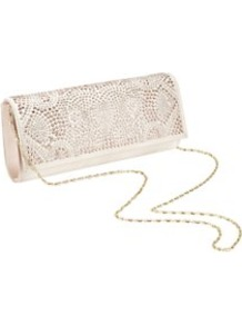 Jewelled Clutch, Black - predominant colour: nude; occasions: evening, occasion; type of pattern: light; style: clutch; length: hand carry; size: small; material: satin; pattern: plain; finish: plain; embellishment: jewels