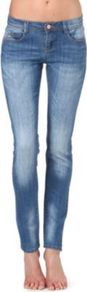 Vintage Skinny Mid Rise Jeans - style: skinny leg; length: standard; pattern: plain; pocket detail: traditional 5 pocket; waist: mid/regular rise; predominant colour: denim; occasions: casual, evening; fibres: cotton - stretch; jeans detail: shading down centre of thigh; texture group: denim; pattern type: fabric