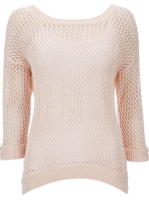 Pink Jumper - neckline: round neck; pattern: plain; style: standard; predominant colour: blush; occasions: casual; length: standard; fibres: cotton - mix; fit: standard fit; sleeve length: 3/4 length; sleeve style: standard; texture group: knits/crochet; pattern type: knitted - big stitch