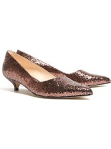 Cordovan Glitter Sonia Kitten Heels - predominant colour: chocolate brown; occasions: evening, occasion; material: leather; heel height: mid; embellishment: glitter; heel: kitten; toe: pointed toe; style: courts; trends: metallics; finish: metallic; pattern: plain