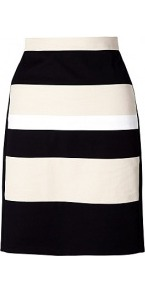 Colourblock Pencil Skirt - pattern: horizontal stripes; style: pencil; fit: tailored/fitted; waist: high rise; secondary colour: stone; predominant colour: black; occasions: evening, work, occasion; length: just above the knee; fibres: cotton - stretch; texture group: cotton feel fabrics; pattern type: fabric; pattern size: standard