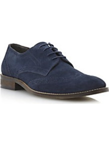 Beaumont Suede Lace Up Brogue - predominant colour: navy; occasions: casual, work; material: suede; heel height: flat; toe: round toe; style: brogues; finish: plain; pattern: plain