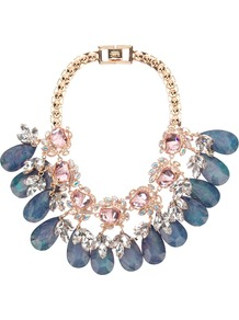 Flower Gemstone Necklace - predominant colour: denim; secondary colour: gold; occasions: evening, occasion; style: choker/collar; length: short; size: large/oversized; material: chain/metal; trends: metallics; finish: metallic; embellishment: jewels