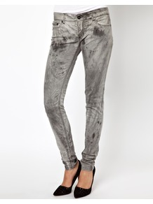 Dirty Wash Skinny Jeans - style: skinny leg; length: standard; pattern: plain; waist: low rise; pocket detail: traditional 5 pocket; predominant colour: mid grey; occasions: casual; fibres: cotton - 100%; jeans detail: washed/faded; texture group: denim; pattern type: fabric; pattern size: standard