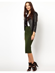 Pencil Skirt In Textured Jersey - length: below the knee; pattern: plain; fit: tight; waist detail: elasticated waist; waist: high rise; predominant colour: dark green; occasions: casual, evening; fibres: polyester/polyamide - stretch; style: tube; texture group: jersey - clingy; pattern type: fabric