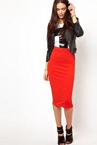 Pencil Skirt In Textured Jersey - length: below the knee; pattern: plain; fit: tight; waist detail: elasticated waist; waist: high rise; predominant colour: bright orange; occasions: casual, evening; fibres: polyester/polyamide - stretch; style: tube; texture group: jersey - clingy