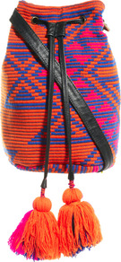 Bright Aztec Duffel - secondary colour: hot pink; predominant colour: bright orange; occasions: casual; style: rucksack; length: rucksack; size: standard; material: fabric; embellishment: tassels; pattern: patterned/print