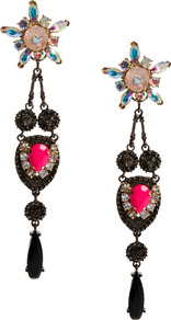 Flower Chandelier Swing Earrings - occasions: casual, occasion; predominant colour: multicoloured; style: chandelier; length: long; size: large/oversized; material: chain/metal; fastening: pierced; finish: plain; embellishment: jewels