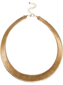 Slinky Chain Collar Necklace - predominant colour: gold; occasions: casual, evening, work, occasion, holiday; style: choker/collar; length: short; size: standard; material: chain/metal; finish: metallic