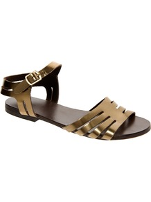 Firework Leather Flat Sandals - predominant colour: bronze; occasions: casual, holiday; material: leather; heel height: flat; ankle detail: ankle strap; heel: standard; toe: open toe/peeptoe; style: strappy; trends: metallics; finish: metallic; pattern: plain