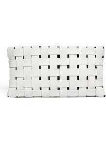 Leather Contrast Weave Clutch Bag - predominant colour: white; occasions: evening; style: clutch; length: hand carry; size: small; material: faux leather; pattern: plain; finish: plain