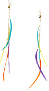 Slinky Multi Coloured Feather Earring - occasions: casual, holiday; predominant colour: multicoloured; style: drop; length: extra long; size: small/fine; material: chain/metal; fastening: pierced; finish: plain; embellishment: feathers