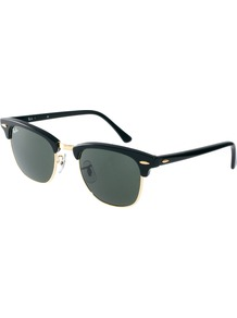 Crystal Green And Black Clubmaster Sunglasses - predominant colour: black; occasions: casual, holiday; style: d frame; size: standard; material: chain/metal; pattern: plain; finish: plain