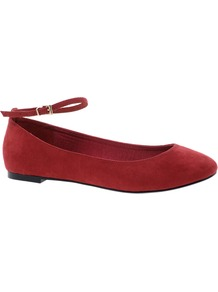 Liquid Ballet Flats - predominant colour: burgundy; occasions: casual, evening, work; material: fabric; heel height: flat; ankle detail: ankle strap; toe: round toe; style: ballerinas / pumps; finish: plain; pattern: plain