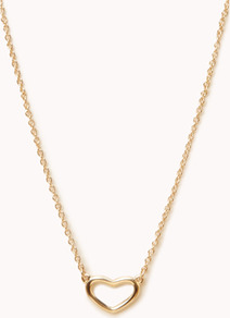 Open Heart Charm Necklace - predominant colour: gold; occasions: casual, work; style: pendant; length: long; size: small/fine; material: chain/metal; finish: metallic