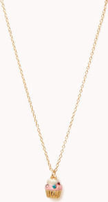 Cupcake Necklace - predominant colour: gold; occasions: casual; style: pendant; length: long; size: small/fine; material: chain/metal; finish: metallic