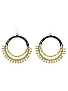 Ethnic Hoop Drop Earrings - predominant colour: gold; secondary colour: black; occasions: casual, evening, work, occasion, holiday; style: hoop; length: mid; size: standard; material: chain/metal; fastening: pierced; finish: plain; embellishment: chain/metal