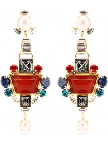 Crystal Bead Embellished Drop Earrings - secondary colour: navy; predominant colour: terracotta; occasions: evening, occasion, holiday; style: drop; length: long; size: large/oversized; material: chain/metal; fastening: pierced; finish: metallic; embellishment: jewels