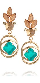 Althea Gold Plated Crystal Earrings - secondary colour: turquoise; predominant colour: gold; occasions: evening; style: drop; length: mid; size: large/oversized; material: chain/metal; fastening: pierced; finish: metallic
