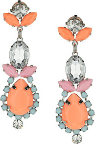 Pastel And Neon Stone Earrings - occasions: evening; predominant colour: multicoloured; style: drop; length: long; size: large/oversized; material: chain/metal; fastening: pierced; finish: plain; embellishment: jewels