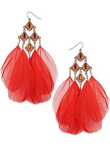 Coral Feather Earrings - predominant colour: true red; secondary colour: coral; occasions: evening, occasion; style: drop; length: long; size: large/oversized; material: chain/metal; fastening: pierced; finish: plain; embellishment: feathers