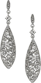 Ornate Teardrop Earrings - predominant colour: silver; occasions: evening; style: drop; length: long; size: large/oversized; material: chain/metal; fastening: pierced; finish: metallic; embellishment: crystals